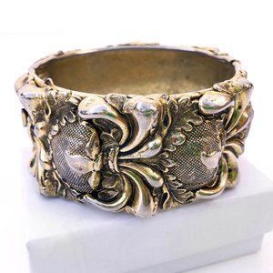 Vintage Whiting and Davis Repousse Cuff Bracelet
